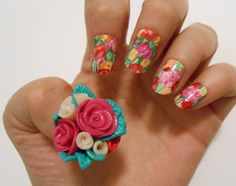 Clay thumb flower nail art that I did a while back.
