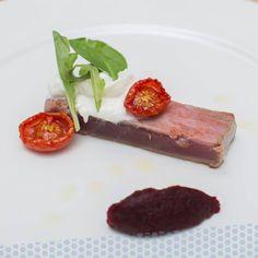 Tuna Tataki with Burrata cheese, tomato confit and beetroot mint seasoned.