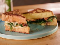 """Stuffed French Toast with Gruyere, Mustard Greens and Double-Smoked Bacon (The Savory Side of Brunch) - Bobby Flay, """"Brunch at Bobby's"""" on the Food Network. Easy Brunch Recipes, Bacon Recipes, Breakfast Recipes, Brunch Ideas, Breakfast Ideas, Bacon Food, Toast Ideas, Brunch Food, Sandwich Recipes"""
