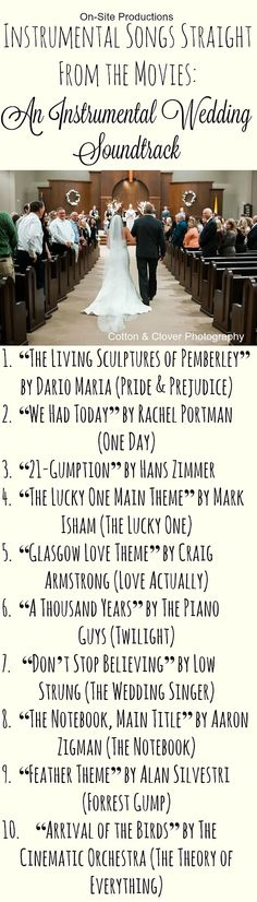The perfect list of *INSTRUMENTAL* songs for my wedding ceremony! These are all so beautiful; but I'm walking down the aisle to number 6!