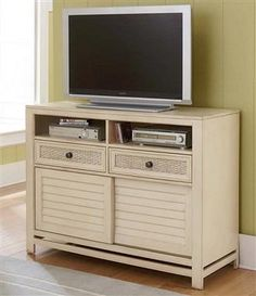 Haven Transitional Aged Ivory Wood Media Chest
