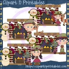 Christmas Fireplaces- #Clipart #ResellableClipart #Christmas #Fireplaces #Elf #Elves #Snowman #Stockings #Reindeer
