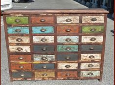 Funky Furniture, Colorful Furniture, Furniture Projects, Furniture Makeover, Painted Furniture, Paint Storage, Bead Storage, Chest Of Drawers Upcycle, Sewing Room Decor