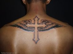 What does cross with wings tattoo mean? We have cross with wings tattoo ideas, designs, symbolism and we explain the meaning behind the tattoo. Back Cross Tattoos, Cross With Wings Tattoo, Cross Tattoo For Men, Cross Tattoo Designs, Tattoo Designs Men, Back Tattoo Men, Back Tattoos For Guys, Cross Designs, Tattoo Wings