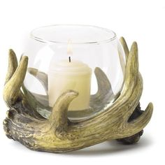 Gifts Decor Rustic Antler Country Cabin Hunters Lodge Candleholder ($9.38) ❤ liked on Polyvore featuring home, home decor, candles & candleholders, candles, antler candle, antler home decor and antler candle holder