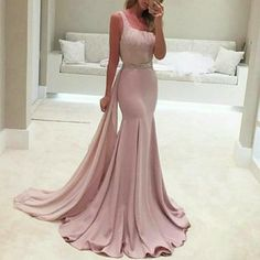 Prom Dresses Elegant, Beading Sweep Train A-Line/Princess Stretch Satin 2020 Glamorous Pink Prom Dresses, Mermaid prom dresses, two piece prom gowns, sequin prom dresses & you name it - our 2020 prom collection has everything you need! Prom Dresses Long Pink, Sequin Prom Dresses, Long Prom Gowns, Beaded Prom Dress, Backless Prom Dresses, Mermaid Evening Dresses, Party Dresses, Pink Mermaid Dress, Dress Long