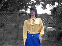 Vintage 60s 70s Yellow Damask Print Pussy Bow by VBombVintage, $10.00