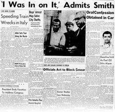"""""""Dewey conduce el coche que va delante, Perry Smith va sentado junto a él y Duntz en el asiento de atrás. Smith lleva las esposas puestas y las esposas van atadas a un cinturón de seguridad por una corta cadena, lo que limita tanto sus movimientos, que no puede fumar si no le ayudan""""."""