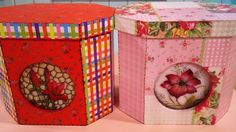 Cajas decoradas con papel   Emilse T  http://www.manosalaobra.tv/