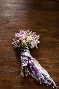 Scarf wrapped floral bouquet : This would be such a nice way to give a friend a personal gift, scarf & flowers!