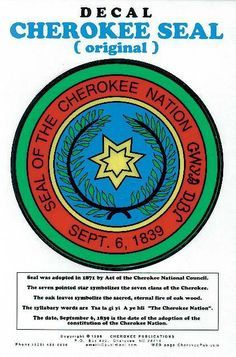 Cherokee Seal Decal - Full-Color Self-Adhering Decal http://medicinemancrafts.com/collections/gifts-specialty-items/products/cherokee-seal-decal