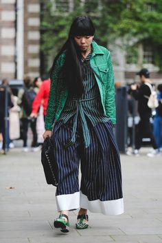 Here's proof that the wider the trousers, the better.Toga shoes. #refinery29 http://www.refinery29.com/2016/09/123831/lfw-spring-2017-best-street-style-outfits#slide-10