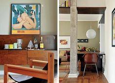 EXTENSÃO FAMILIAR O móvel de TV de imbuia foi desenhado pelo arquiteto e executado pela Móveis Araújo. Sobre a bandeja de espelho, da LS Selection, copos da L'Oeil. Árvore da Coisas da Doris. A mesa de jantar foi parafusada entre a parede e o pilar na passagem que leva à suíte. Assim, economizou espaço no living. (Foto: Casa e Jardim)