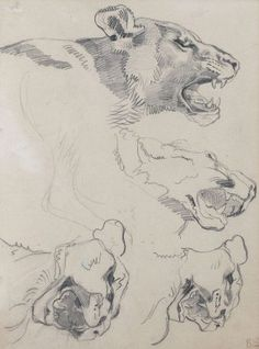 Eugene Delacroix, Lioness Heads, See the Virtual Artist gallery: www.theartistobjective.com/gallery/index.html