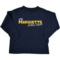 Item #16650 Toddler Navy Long Sleeve Tee. By College Kids $20. Stop in or call 414-288-3050 to order.