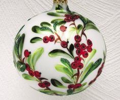Amazon.com - Christina's World Holly Berry Ball Hand-Painted Glass ...