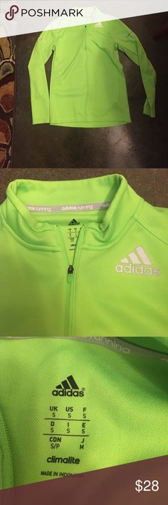 Adidas running long sleeve 1/4 zip pullover. Gently worn. Mens sizing but fits snugly on a womans M body. Adidas Tops Sweatshirts & Hoodies