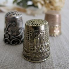 Antique sewing collection - Set of 3, Decorative Thimbles, $17.50