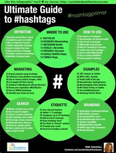 http://socialmediaonlineclasses.com/the-ultimate-guide-to-hashtags-infographic Learn how to use hashtags to increase your visibility across every social network! This ultimate guide offers:  case studies, examples of how to use hashtags  & hashtag etiquette. Download your copy here:   http://socialmediaonlineclasses.com/the-ultimate-guide-to-hashtags-infographic