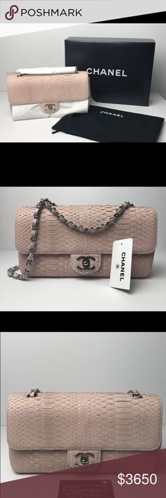 Authentic Chanel Single Flap Python Handbag This Authentic Chanel classic exotic single flap made from exotic python skin  * THIS BAG IS BRAND NEW WITH ORIGINAL TAGS STILL ATTACHED! HOWEVER BECAUSE THE NATURE OF THE EXOTIC SKIN SLIGHT DISCOLORATION UNDER THE FLAP IS PRESENT! NO TRADES! DETAILS MEASUREMENTS: L:10''X H:5.5'' X D:3'' INCLUDES: CHANEL BOX, DUSTBAG, TAGS AND AUTHENTICTY CARD ENTRUPY CERTIFICATE OF AUTHENTICITY SIZE: MEDIUM SINGLE FLAP STRAP SINGLE: 16'' STRAP DOUBLED: 9.5''…