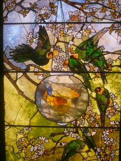 "Window by Louis Comfort Tiffany- love how he seemed to ""paint' with glass. The fish really look like they are in water with his use of cloudier glass."