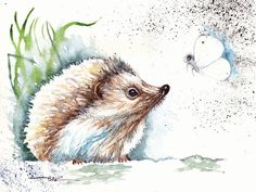 Original Watercolour Painting by Be Coventry,Animals,Realism,Hedgehog no.3