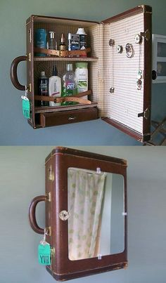 Vintage Suitcase, now starring as a medicine cabinet (and it looks like, jewelry holder). Clever...