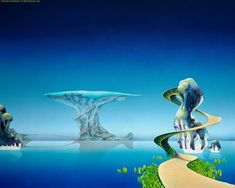 Roger Dean (born 31 August 1944), is an English artist, designer, architect and publisher, best known for his work on album covers for musicians (particularly Progressive Rock acts). His unique, instantly recognisable style   often features exotic, fantastic landscapes typically populated with dramatic, impossible natural rock formations, lush alien wildlife/fauna, and strange organic structures… #fantasy #art #Roger Dean #fantasy art