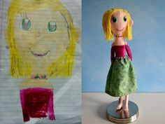 Customised soft toys based on children's drawings.  This lady is so clever!