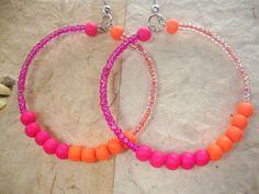 Hoop Earrings Pink and Orange Neon Beads by KidsAtHeartBeadShop