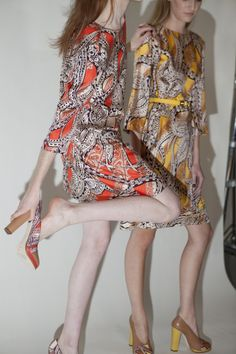 Perfection in paisley backstage at Karen Walker. Photo by Maia Harms