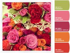 Warm sage green, pink, muted warm raspberry, deep tangerine, and red-orange color palette