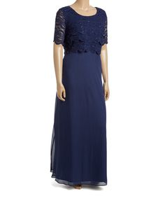 Another great find on #zulily! Navy Lace-Overlay Gown - Plus #zulilyfinds