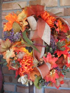 Petite Fall wreath with leaves and flowers in by faucettandflame, $37.99