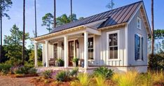 Tiny Farmhouse Cottage HGTV presents a low-country cottage designed to exude farmhouse charm through board-and-batten siding, simple landscaping and bucolic decor. Small Cottage House Plans, Small Cottage Homes, Small Cottages, Cabins And Cottages, Cottage Porch, Country Cottages, Guest Cottage Plans, Backyard Cottage, Cozy Cottage