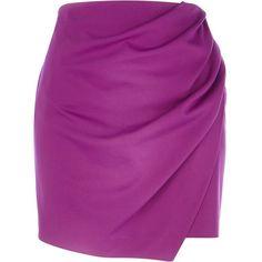 fa42d49e8997a River Island Purple wrapped drape mini skirt (19 CAD) ❤ liked on Polyvore  featuring