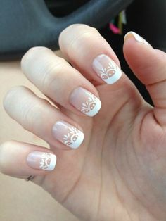 50 French Nails Ideas For Every Bride - Ongles 02 Bride Nails, Wedding Nails For Bride, Wedding Nails Design, Nail Wedding, Wedding Manicure, Elegant Nail Designs, Elegant Nails, Nail Art Designs, French Nails