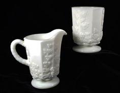 Antique Westmoreland Milk Glass Creamer & Spooner Set...Paneled Grapes