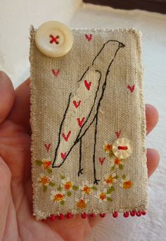Screen printed and hand painted Birdy Brooch by hensteeth on Etsy, £22.00