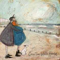 Counting White Horses by Sam Toft - - kunst Arte Country, Encaustic Art, White Horses, Naive Art, Horse Art, Whimsical Art, Dog Art, Painting & Drawing, Pour Painting
