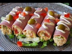 cannelloni of cooked ham Finger Food Appetizers, Healthy Appetizers, Appetizers For Party, Finger Foods, Appetizer Recipes, Pork Recipes, Diet Recipes, Vegan Recipes, Cheesy Hashbrown Bake