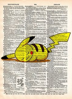 Pokemon art, Pokemon Pikachu, video game art, Pokemon poster printed in a cool pop art style on vintage dictionary page. Pikachu taking a nap. These unique and original artwork are printed on authenti
