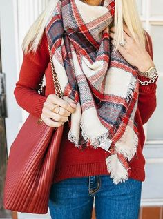 #winter #fashion /  Red Knit + Red Leather Tote Bag