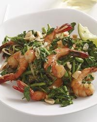 Vietnamese-Style Shrimp and Watercress Stir-Fry | The fish sauce and peanuts in this seafood stir-fry are hallmarks of Vietnamese cooking. Ample amounts of fresh ginger and lime juice bump up the flavor of the dish.