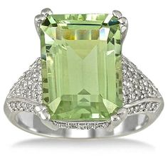 Green Amethyst Diamond Ring.                                                                                                                                                                                 More