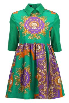 #romwe Retro Printed Green Dress(Arrival on October 7th)  $37.99