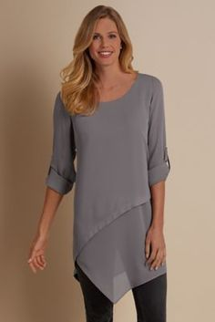 Petites Mayfair Tunic - Chiffon Tunic, Angled Tunic | Soft Surroundings