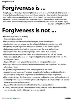 Forgiveness is an effectvie treatment for anger and relieving hurt. Sadly, many people dismiss forgiveness due to misconceptions regarding its nature. This information handout describes what forgiveness is and is not. Cbt Worksheets, Therapy Worksheets, Group Therapy Activities, Counseling Worksheets, Homeschool Worksheets, Budgeting Worksheets, Alphabet Worksheets, Trauma, Mental And Emotional Health