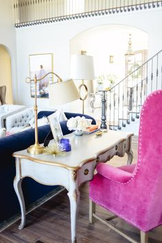 Computer desk and workspace makeover inspiration! Your computer desk doesn't have to be an eye sore in your home. This pink velvet chair and french provincial desk are functional AND stylish!