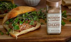 Turkey burger on ciabatta bun with Swiss cheese, next to a bottle of Trader Joe's Mushroom & Company Multipurpose Umami Seasoning Blend. Trader Joe's, Umami Seasoning Recipe, My Burger, Burger Mix, Stuffed Mushrooms, Stuffed Peppers, Cooking Recipes, Healthy Recipes, Healthy Foods